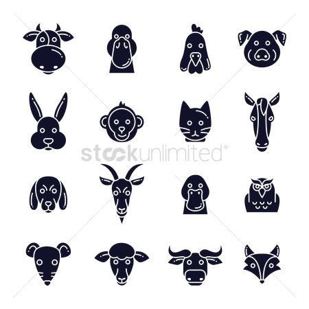 Roosters : Set of animal icons
