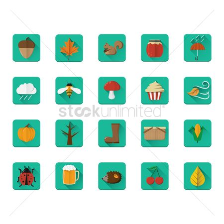 Jar : Set of autumn icons