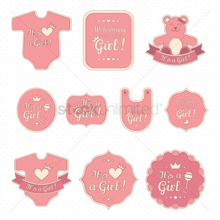 Teddybears : Set of baby girl stickers