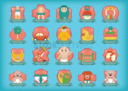 Teddybear : Set of baby shower icons