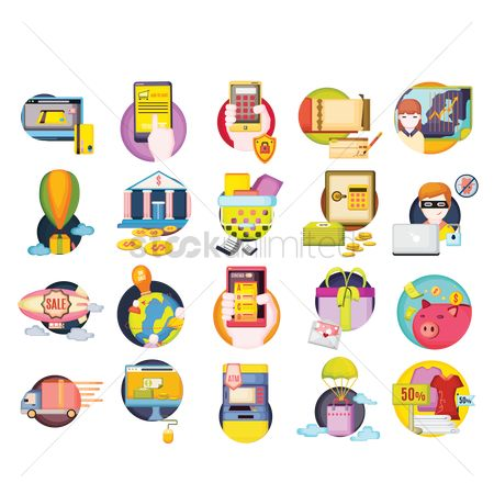 Online shopping : Set of banking icons