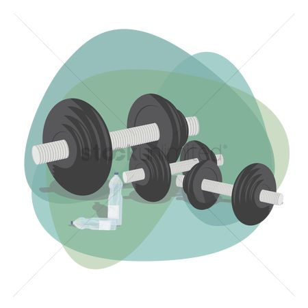 Strength exercise : Set of barbells with water bottle