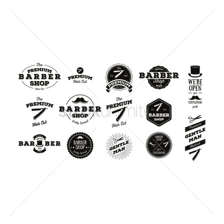 Moustache : Set of barber labels