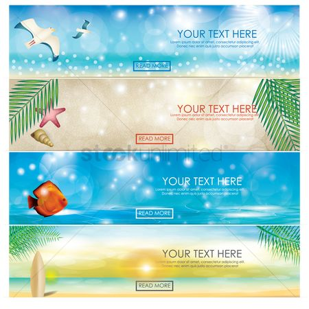 Seashore : Set of beach banners