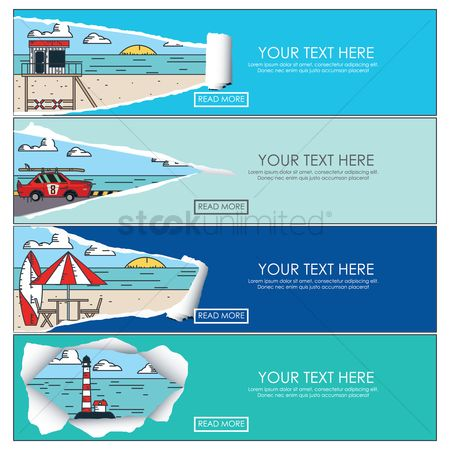 Lighthouses : Set of beach banners