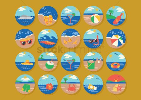 Summer : Set of beach icons