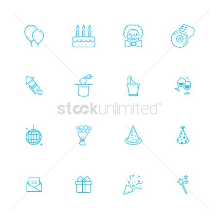 Clowns : Set of birthday icons