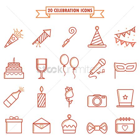 Ties : Set of birthday icons