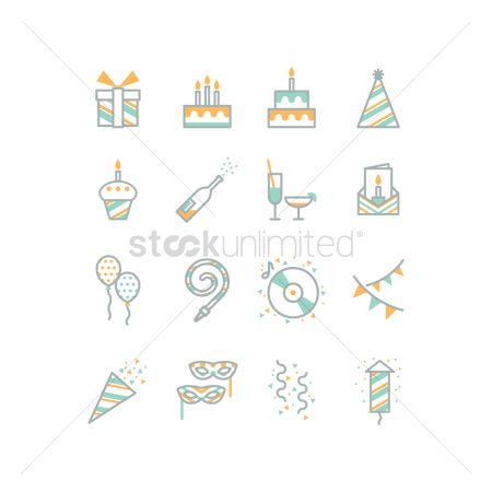 Champagnes : Set of birthday party icons