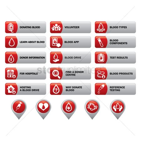 Health cares : Set of blood information icons