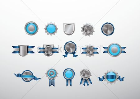Shield : Set of blue and silver badge icons