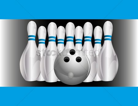 Indoor : Set of bowling pins and ball