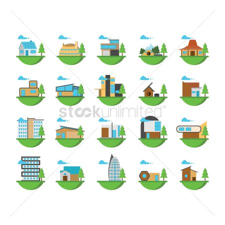 Real estate : Set of buildings and houses