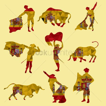 Bull : Set of bullfighting icons
