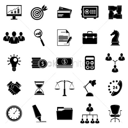 Sand clock : Set of business and strategy icons