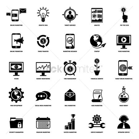 Currencies : Set of business and strategy icons