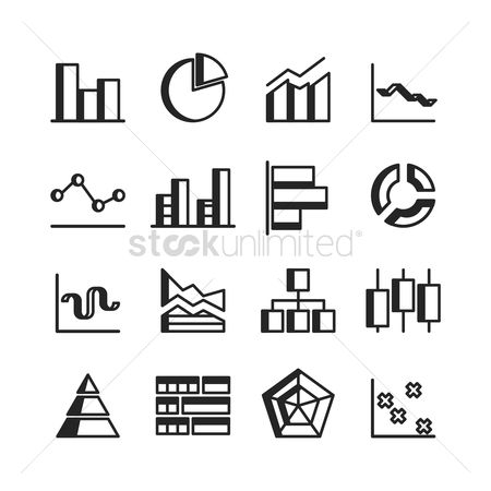 Pentagons : Set of business chart icons
