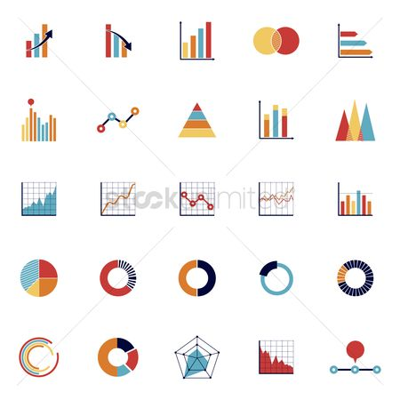 Profits : Set of business chart icons