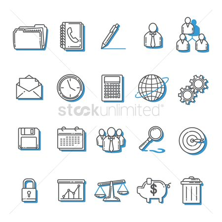 Trash can : Set of business icons