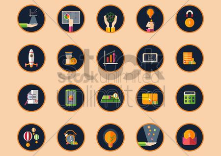 Map pointer : Set of business strategy icons