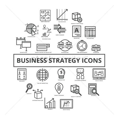 Entrepreneur : Set of business strategy icons