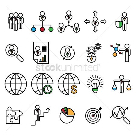 Cogwheels : Set of business strategy icons