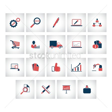 Hand truck : Set of business strategy icons