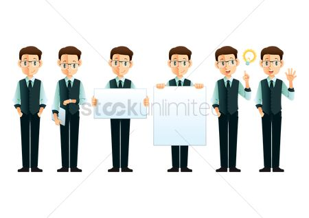 Cartoon : Set of businessman icons