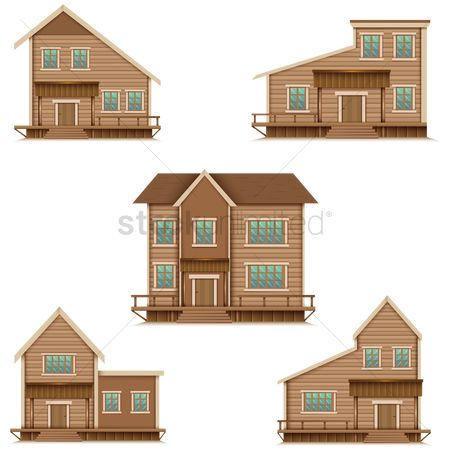 Logs : Set of cabin wooden houses