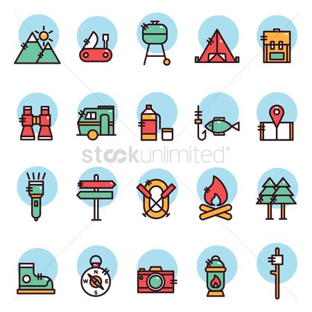 Torch : Set of camping icons