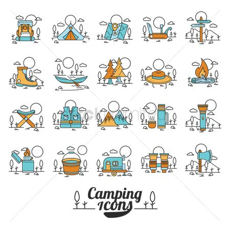 Backpacks : Set of camping icons