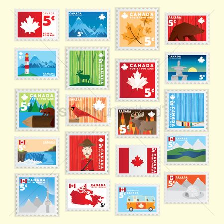 Lighthouses : Set of canada postage stamp icons