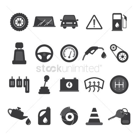 Car speedometer : Set of car icons