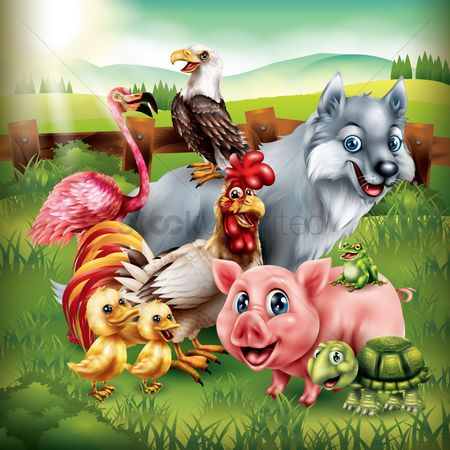 Hawks : Set of cartoon animals posing