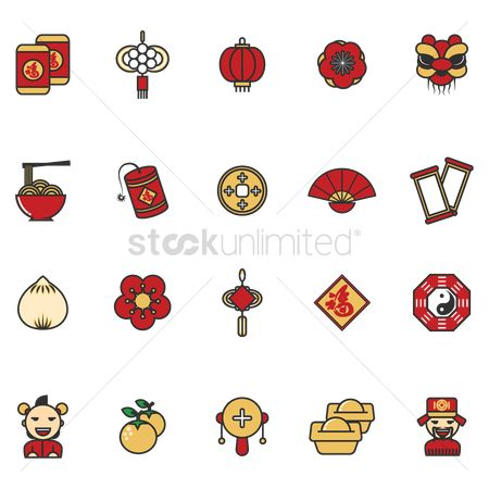 Firecracker : Set of chinese new year icons