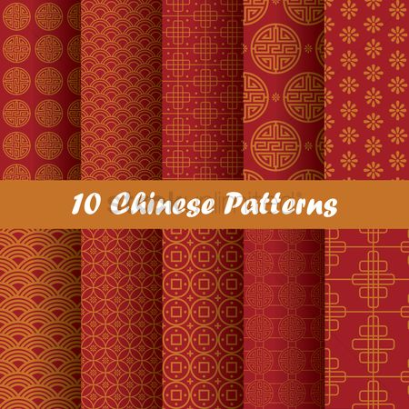 1577950 chinese new year background set of chinese patterns