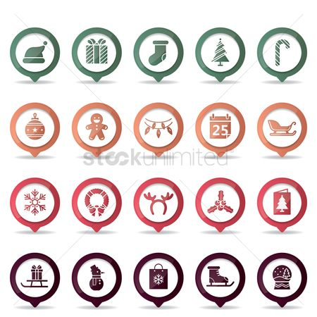 Dolls : Set of christmas button icons