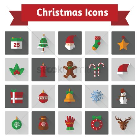 Mitten : Set of christmas icons