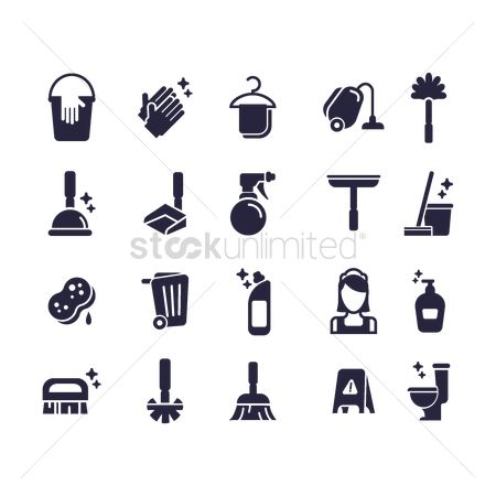 Duster : Set of cleaning icons