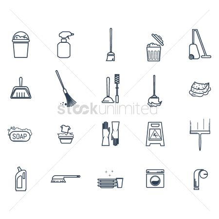 Broom : Set of cleaning icons