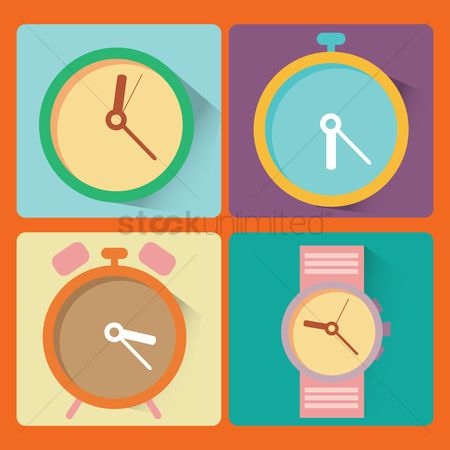 Minute : Set of clock icons