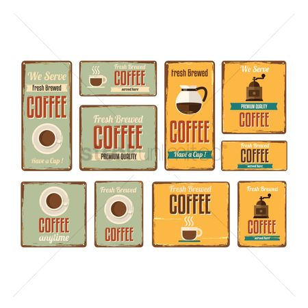 Time : Set of coffee signboards