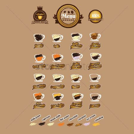 Cream : Set of coffee types