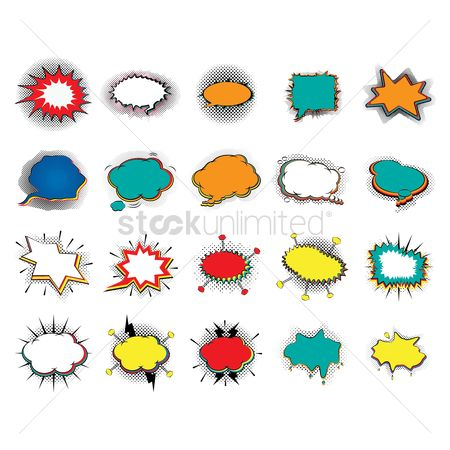 Communication : Set of comic speech bubbles