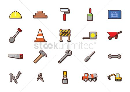 Bulldozers : Set of construction icons