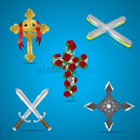 Christian : Set of cross icons