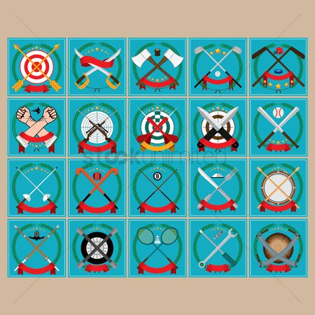 Baseball : Set of crossed emblems icons