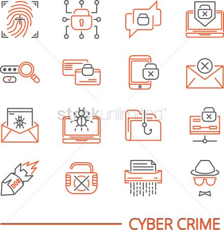 Password : Set of cyber crime icons