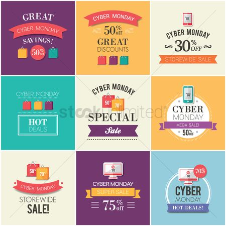 Shopping : Set of cyber monday sale icons