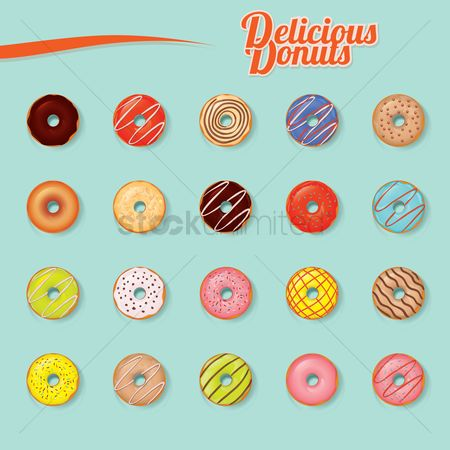 Confections : Set of delicious donuts